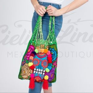 Mexican Sugar Skull Tote Bag Handmade Embroidered